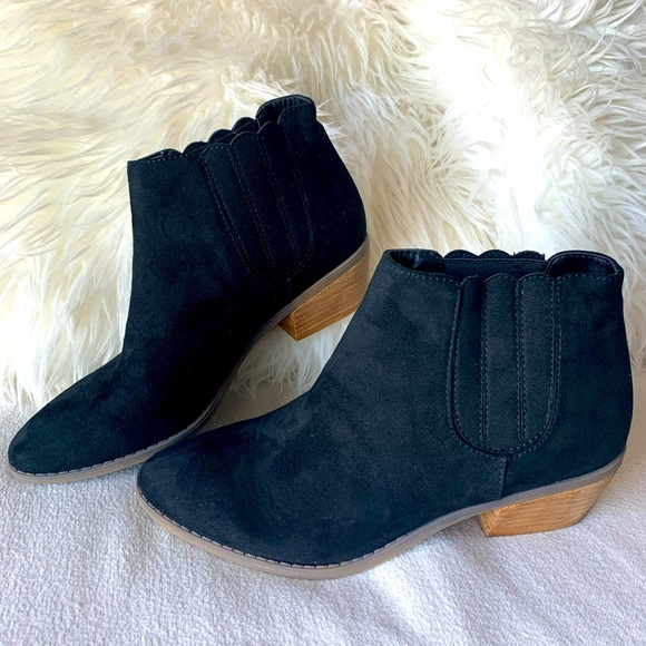 Call It Spring Black Suede Western Ankle Boots